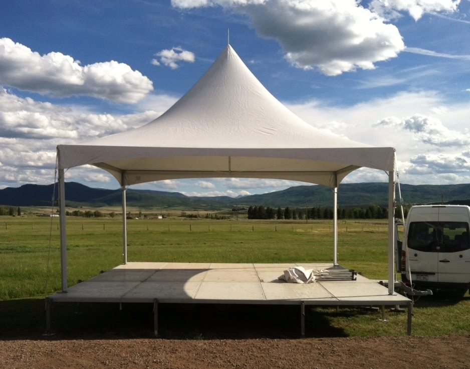 20x24 Pull Out Trailer Stage with 20x20 Tent Roof